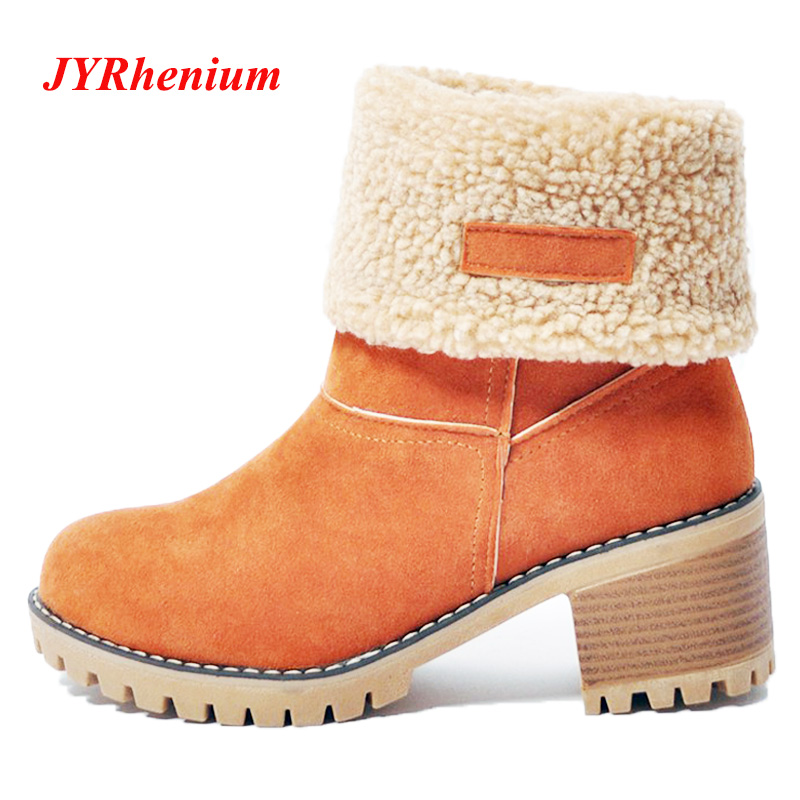 JYRhenium Women Snow Boots Thick Bottom Platform Waterproof Ankle Boots For Women Thick Warm fur Winter Warm Boots size 35-43 kemekiss women warm plush warm snow boots for women thick platform ankle botas female thick fur winter footwear size 36 40