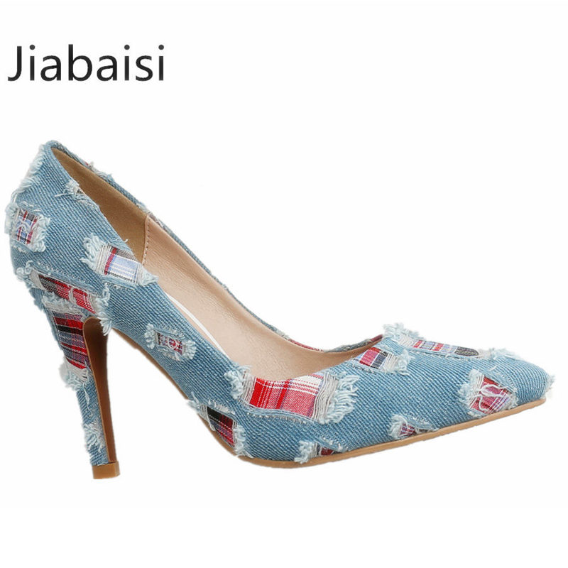 Jiabaisi shoes Women brand pumps jeans Pointed Toe 9CM 7.5CM 5.5CM High HeelS Slip On Stiletto shoes Party novelty Basic Shoes guess shoes jeans pumps