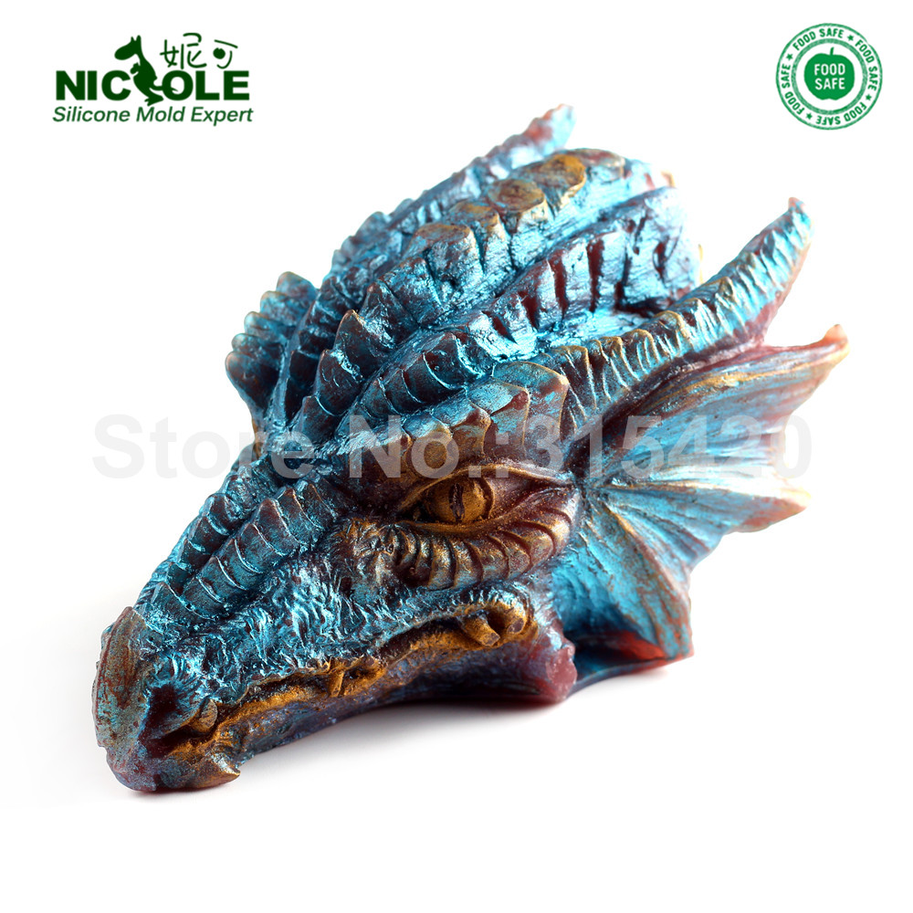 Silikon Soap Candle Mold 3D Dragon Shape Cake Choklad Bakverk Verktyg Non-Stick Resin Crafts