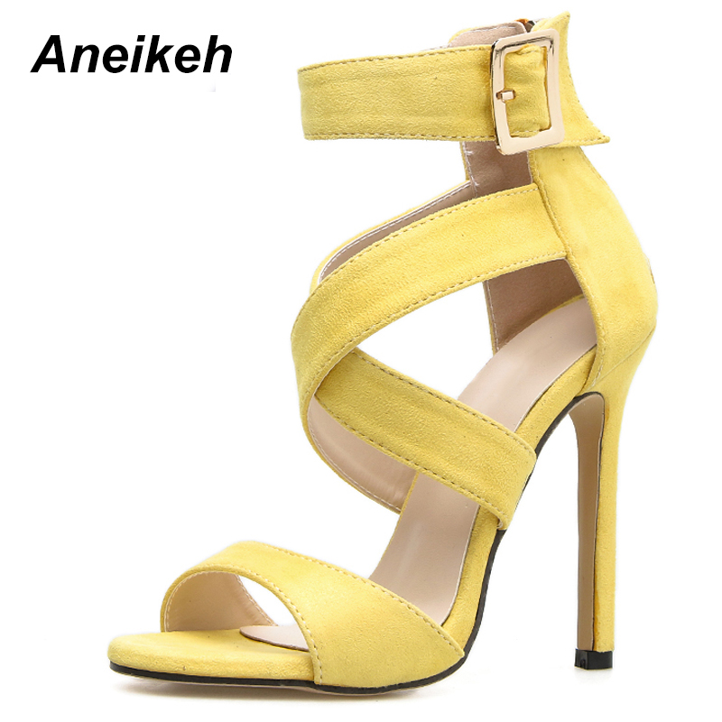 dfa1c528378 Aneikeh Sexy Yellow Sandals Ladies Gladiator Sandals Summer New Pointed  Fish Mouth Cross Thin Heels Fashion Female Dress Shoes
