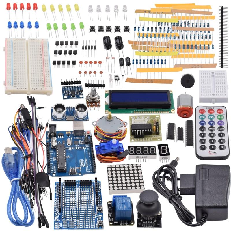 Ultimate Starter Kit including Ultrasonic Sensor, UNO R3, LCD1602 Screen for Arduino Mega2560 UNO Nano with Plastic BoxUltimate Starter Kit including Ultrasonic Sensor, UNO R3, LCD1602 Screen for Arduino Mega2560 UNO Nano with Plastic Box