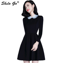 цена на Elegant Black Dress Women Pearl Embellished Party Dress Zip Fit & Long Sleeve Beading Peter pan Collar Skater Dresses Mini Dress