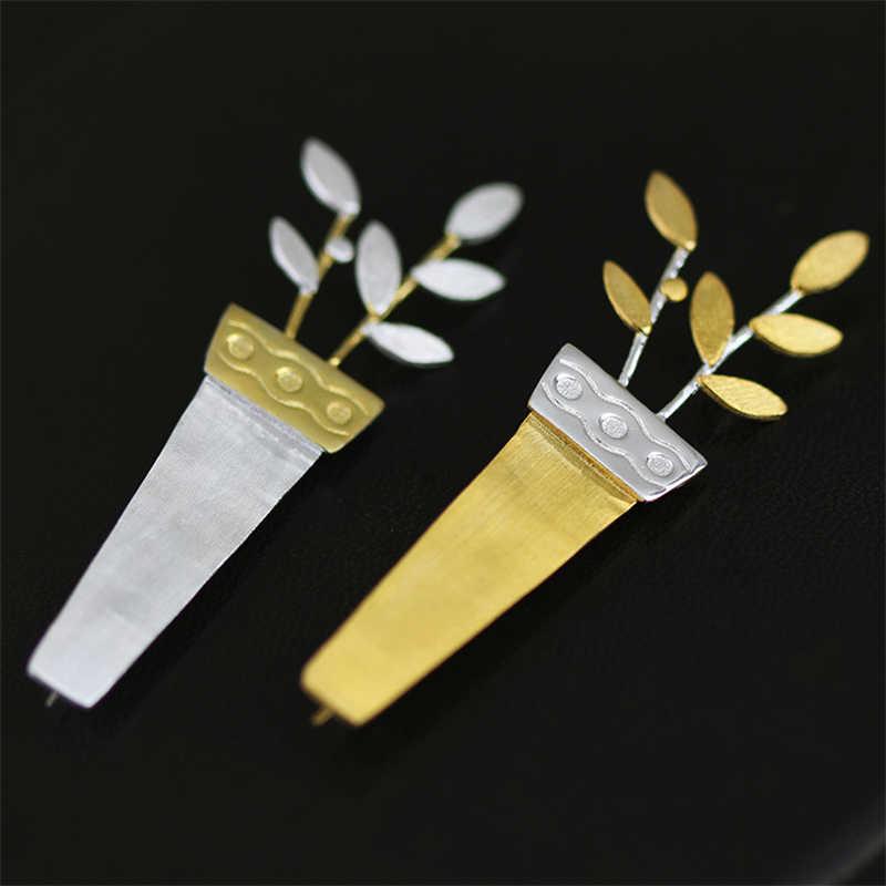 Lotus สนุกจริง 925 เงินสเตอร์ลิง Handmade เครื่องประดับแฟชั่นที่ไม่ซ้ำกัน Potted ดอกไม้ผู้หญิงเข็มกลัด Broche Pin Badge