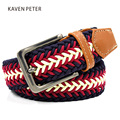 Mens Designer Belts Mens Leather Braided Elastic Stretch Cross Buckle Casual Golf Belt Waistband From Belt Factory Free Shipment