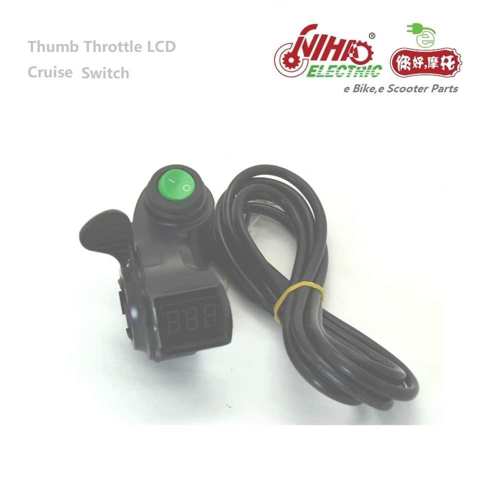 Thumb Throttle with LCD Digital Battery Voltage Key for E-bike Electric Scooter