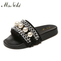 Ms Noki 2017 Fashion Pearl Indoor Slides Women Flip Flops Women S Shoes Slip On Women