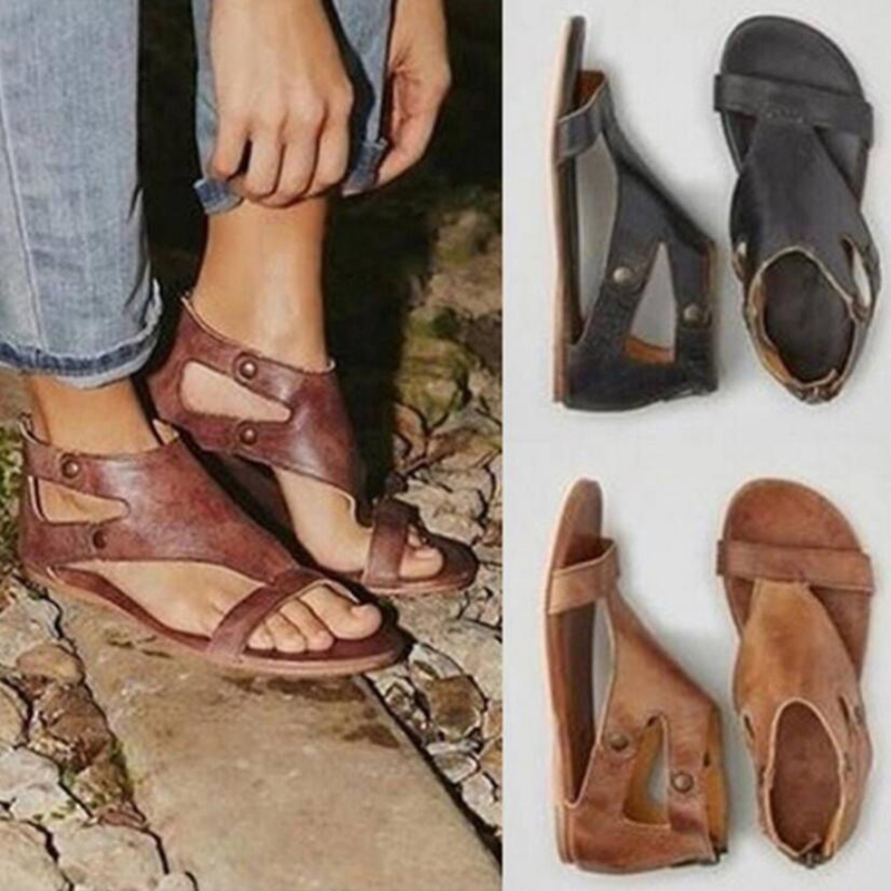 Women's Sandals Women Pu Leather Flat Sandals Women 2018 Comfortable Flat Sandals' Gladiator Flat Beach Shoes Womens Plus Size 9 цена 2017