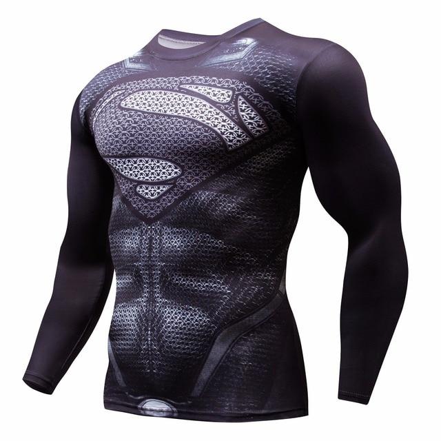 3D סופרמן חולצה ארוך שרוול ספורט חולצה גברים מהיר יבש גברים של ריצת חולצות כושר הלבשה כושר למעלה Rashgard זכר ג 'רזי