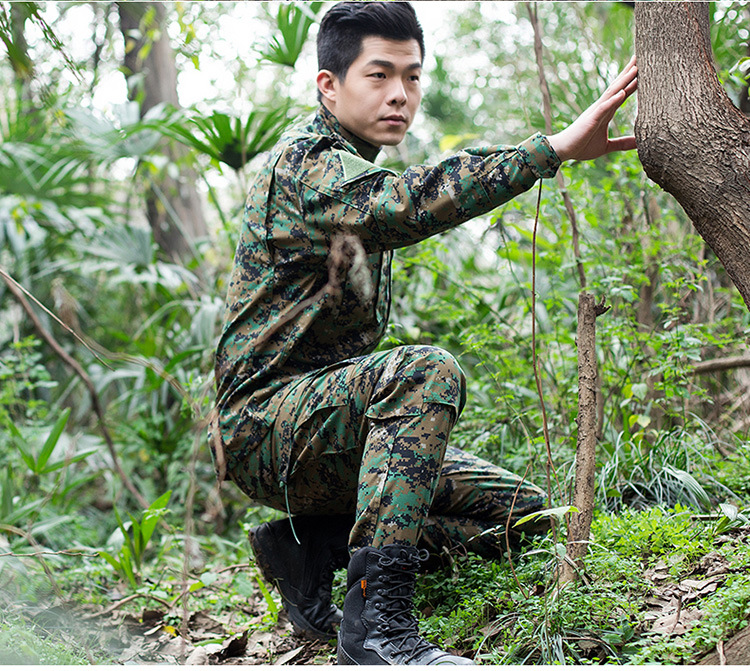Men Camouflage Suit Airsoft Clothes Outdoor Combat Army Uniform Jacket & Pants Military Men Tactical Clothes CS Training Suit camouflage print v neck training suit tank top shorts for men