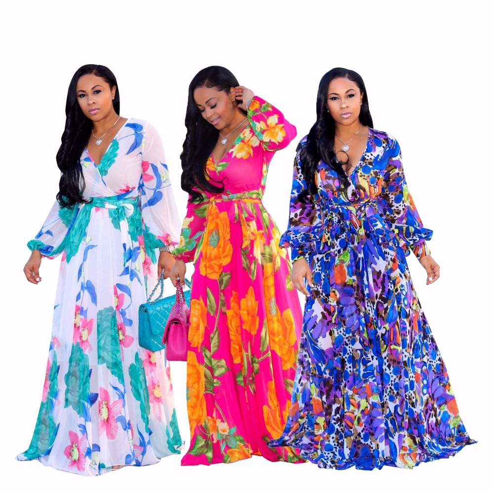 Spring V Neck Sexy Maxi Dress Women Colorful Floral Print Long Sleeve Floor Length Vestido With Sashes Bohemia Party RobeSMR8941