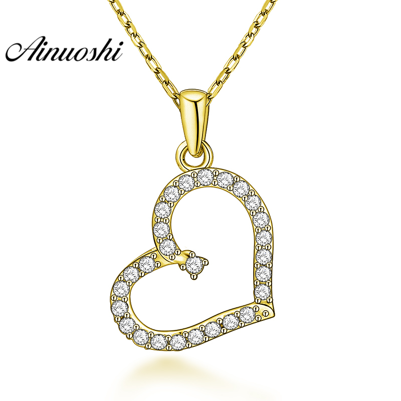 Love Necklace Charm Women 10K Solid Yellow Gold Cubic Zirconia Heart Pendant
