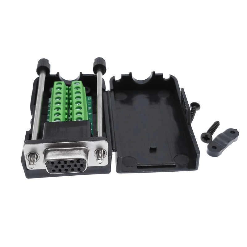 VGA терминал VGA solderless разъем 3 + 6 3 + 9 мужской и женский Док-дисплей три ряда D-SUB 15 контактов с оболочкой