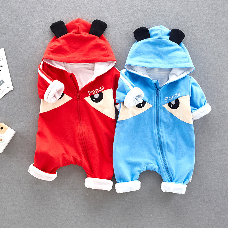 AD Cute Panda Quality Natural Cotton Fabric Baby Boys Girls Rompers Toddlers Outwear Childrens Clothing Clothes