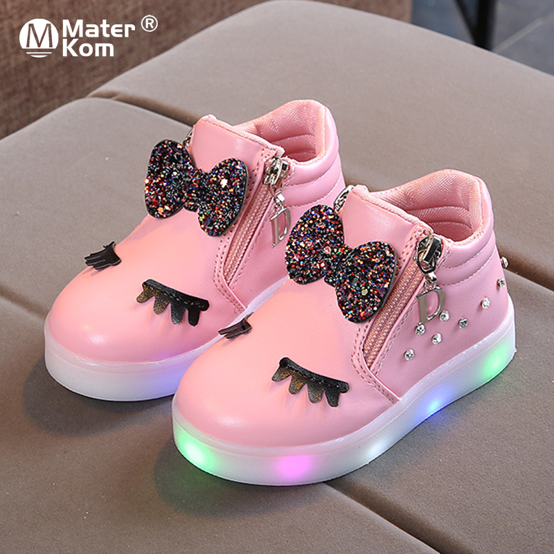 Size 21 30 Children Glowing Sneakers Kid Princess Bow for Girls LED Shoes Cute Baby Sneakers with Light Shoes Krasovki Luminous|Sneakers| |  - title=