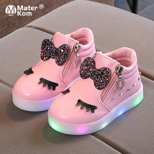 Size 21-30 Children Glowing Sneakers Kid Princess Bow for Girls LED Shoes Cute Baby Sneakers with Light Shoes Krasovki Luminous(China)