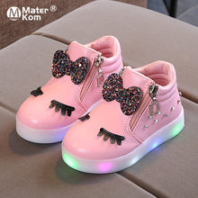 Size 21-30 Children Glowing Sneakers Kid Princess Bow for Girls LED Sho