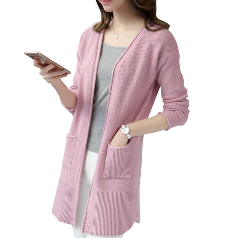 Women Cardigans 2019 New Autumn Cashmere Long Cardigan Sweaters Female Casual Solid Knitted Tops Slim Jumper Knitwear Mujer