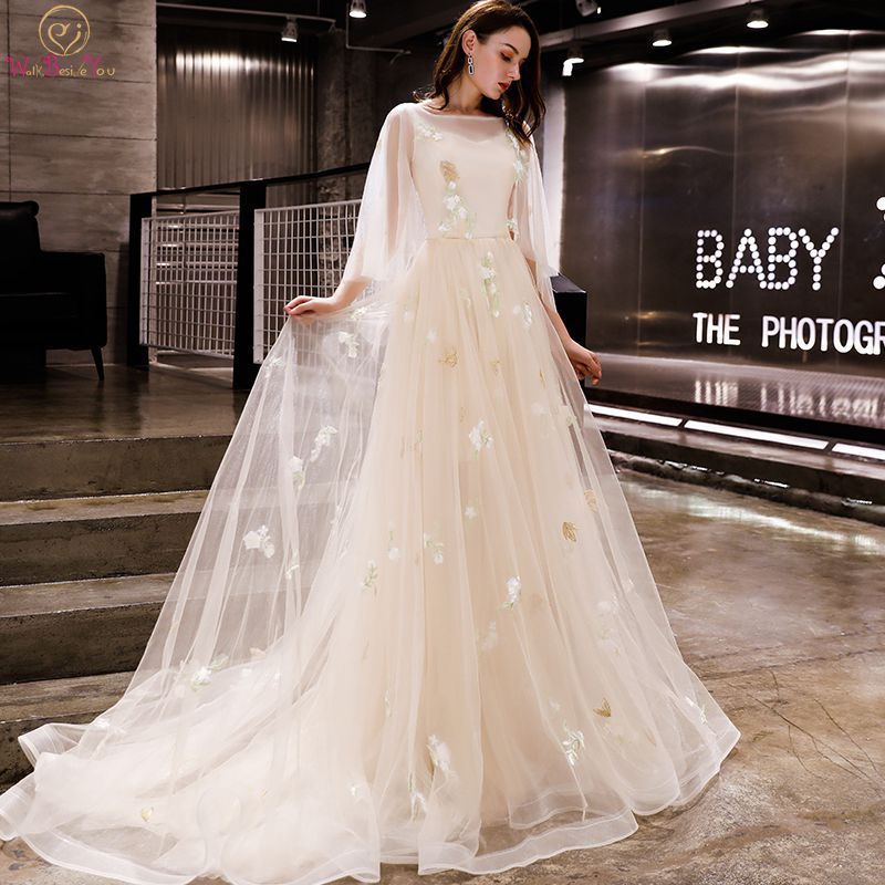 Walk Beside You Champagne Evening Dresses Romantic 3/4 Sleeves  Cap Sleeves Boat Neck Tulle Sweep Train 2020 Long Prom Gown  StockEvening Dresses
