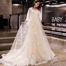 Walk Beside You Champagne Evening Dresses Romantic 3/4 Sleeves Cap Sleeves Boat Neck Tulle Sweep Train 2020 Long Prom Gown Stock