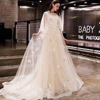 Walk Beside You Champagne Evening Dresses Romantic 3/4 Sleeves Cap Sleeves Boat Neck Tulle Sweep Train 2019 Long Prom Gown Stock