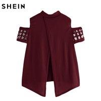 SheIn Open Shoulder Laser Cut Out Split Back Tee Burgundy T Shirts Women 2017 Summer Crew