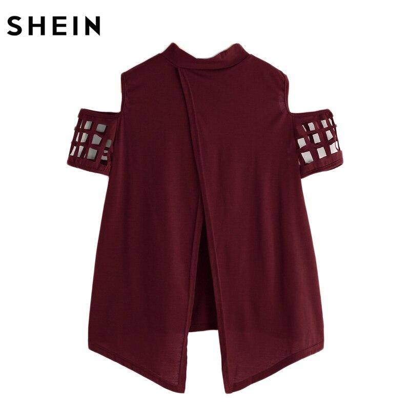 bf042e66b1 SHEIN Open Shoulder Laser Cut Out Split Back Tee Burgundy T Shirts Women  2017 Summer Crew Neck Short Sleeve Tee