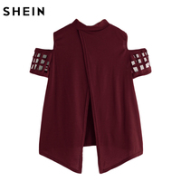 SHEIN Open Shoulder Laser Cut Out Split Back Tee Burgundy T shirts Women 2017 Summer Crew Neck Short Sleeve Tee