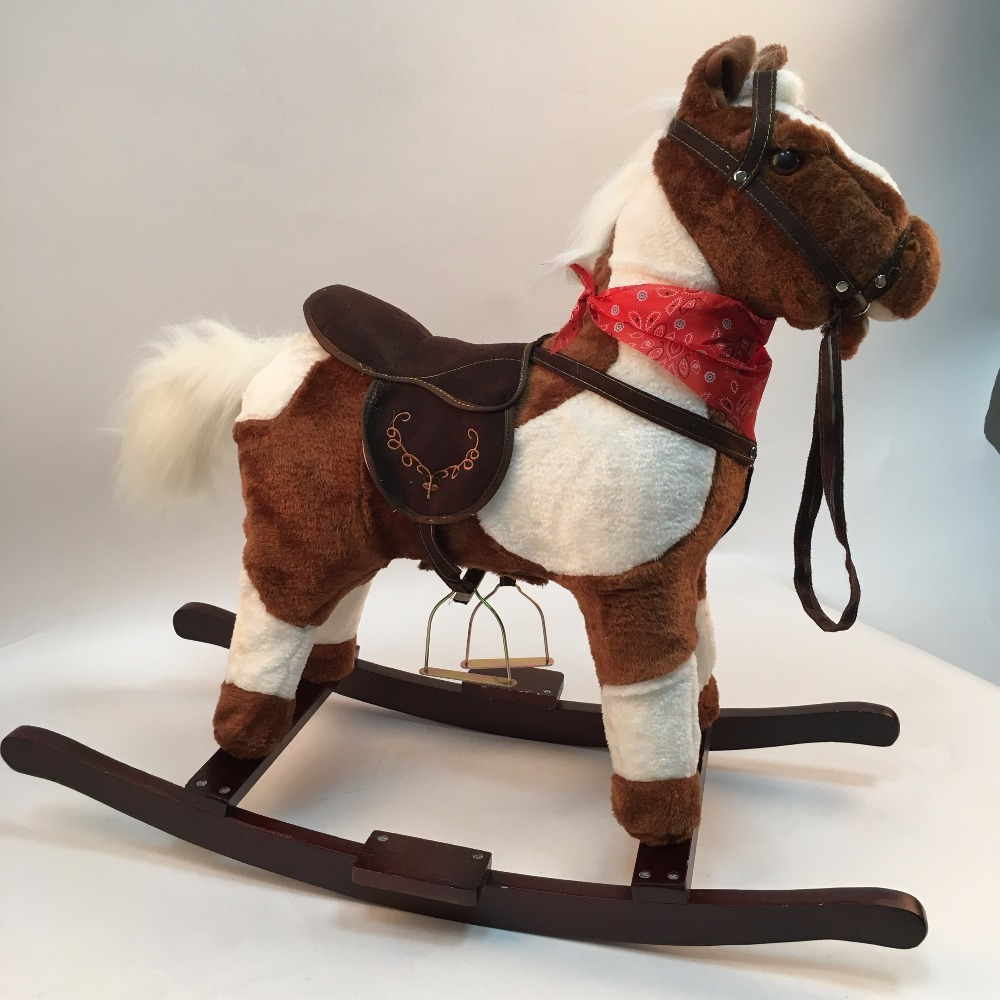 HAPPY ISLAND Amusement Walking Horse Toys Wooden Music Rocking Horse Indoor And Outdoor Ride On Horse Toy For Baby/Kids/Teenager
