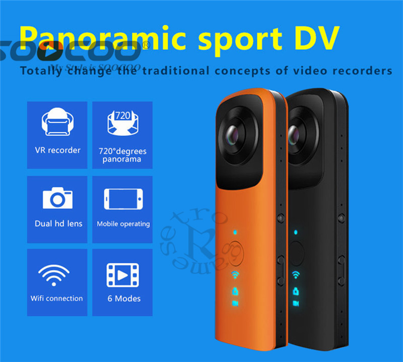 DHL HB720 Handheld Dual-lens Panoramic Outdoor Sports Camera VR HD 4K Camera Built-in WIFI AP Contact Phone insta360 air 3k hd 360 camera dual lens panoramic camera compact mini vr camera for samsung oppo huawei lg andriod smartphone