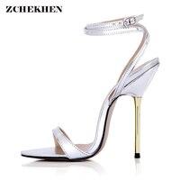 New Design Women Sandals 2018 Fashion Cross Strap metal High Heel Sexy Gold Sliver Platform Wedding Party Shoes 3845 i2 S