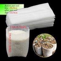 50 pces 20x20cm não-tecidos biodegradáveis eco-amigáveis plantio saco de mudas cobre sacos de berçário planta crescer sacos vasos de mudas
