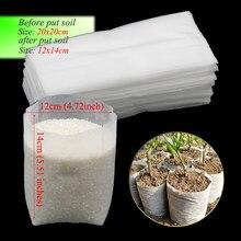 Sacos de plantio biodegradáveis 50 peças, 20x20cm antitecidos saco de plantio de mudas biodegradável saco de berçário sacos de crescimento de plantas potes de mudas