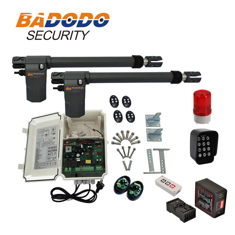 BADODO 400KGS 220V Swing Gate Opener Double Arm With Photocell, Lamp, Detector,wireless Keypad Optional