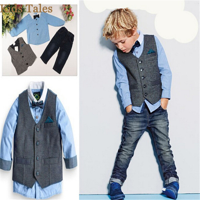 PR-018 Caballero del bebé del verano trajes mariposa pajarita + chaleco +  Camiseta + 92380f18a61d