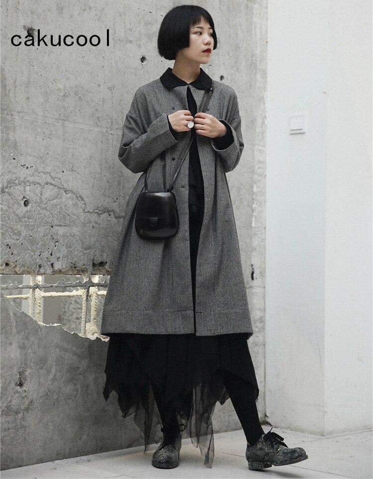 Kadın Giyim'ten Siper'de Cakucool Sonbahar Trençkot Kadınlar Için Rahat Ekose Uzun Palto Kadın Büyük Boy Japon Tarzı Ince Rüzgarlık Palto Kadınlar'da  Grup 1