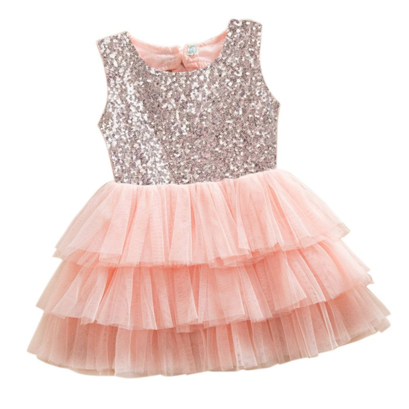 Buy Cheap Baby Dress Newborn Summer Layered Tutu Dressed Kids Sleeveless Back Hole Bows Sequined Dresses Children Clothing