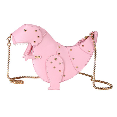 sweet Personality design pink dinosaur rivet Messenger chain shoulder bag cute girl pink bag Handmade Small Quality Travel Bags pink shoulder cutout