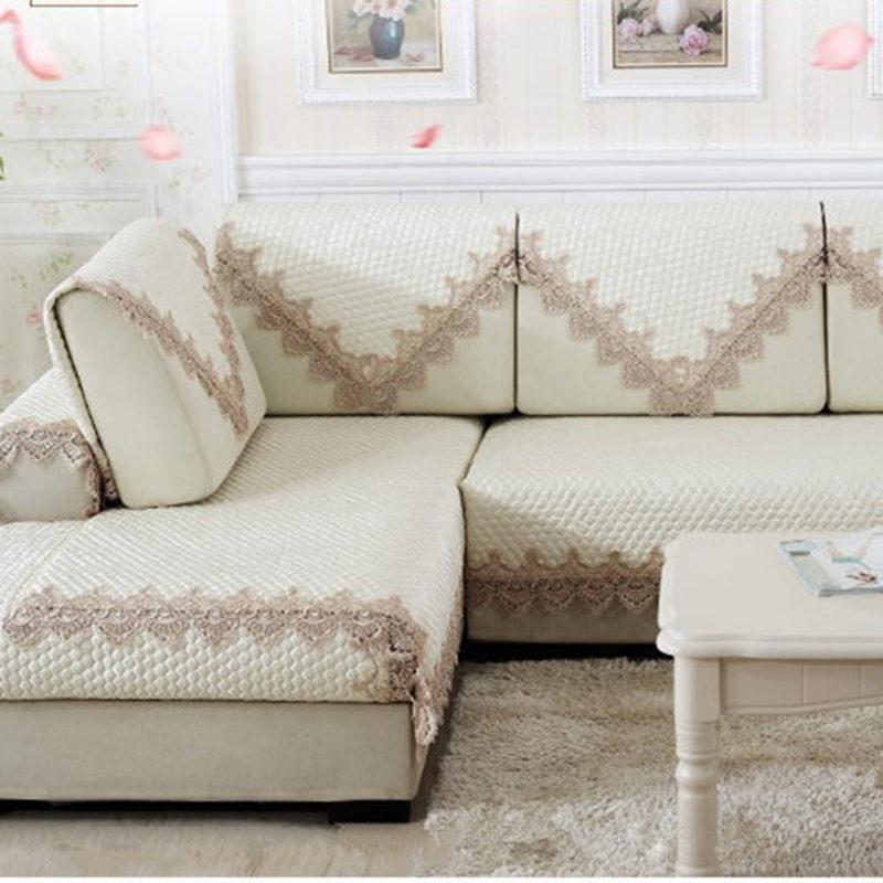 china sofa fabric best sleeper sofas apartment therapy european style cushion elegant lace towel funda ...