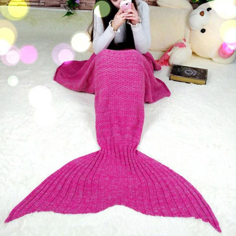 2016 Women Adults Sleeping Bag Knitted Warm Sofa Wrap Mat Mermaid Tail Quilt Cocoon Blanket Adult Rose Red/Blue/Light Purple
