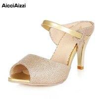 High Heels Sandals Gold Sliver Ankle Wrap Women Sandals Beautiful Ladies Sandals Summer Shoes Gladiator Heels