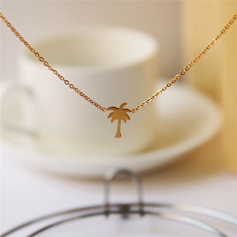 Dropshipping Gold Color Palm Tree Necklace Kvinnor Boho Smycken Island Life Rostfritt Stål Chain Bff Gift Collier Femme 2019