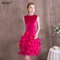 С овальным вырезом цветок элегантный рукава Фиолетовый Короткое платье; вечерние торжественное платье по колено сексуальные платья выпуск
