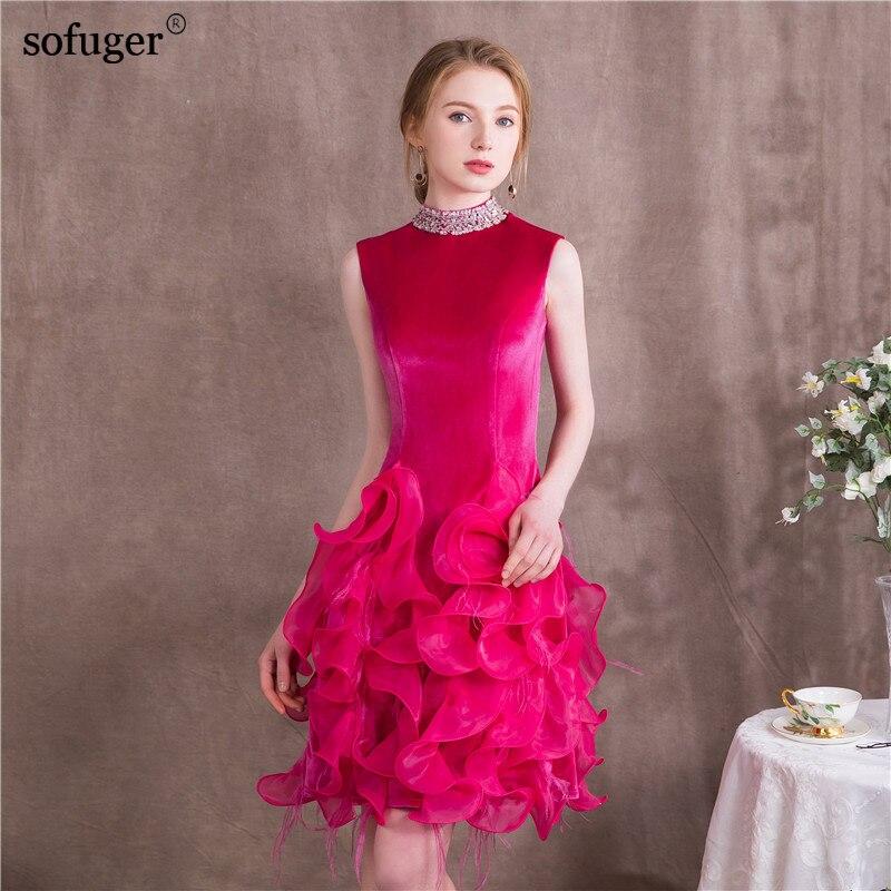 Scoop Neck Flower Elegant Sleeves Purple Short Dress Party Formal