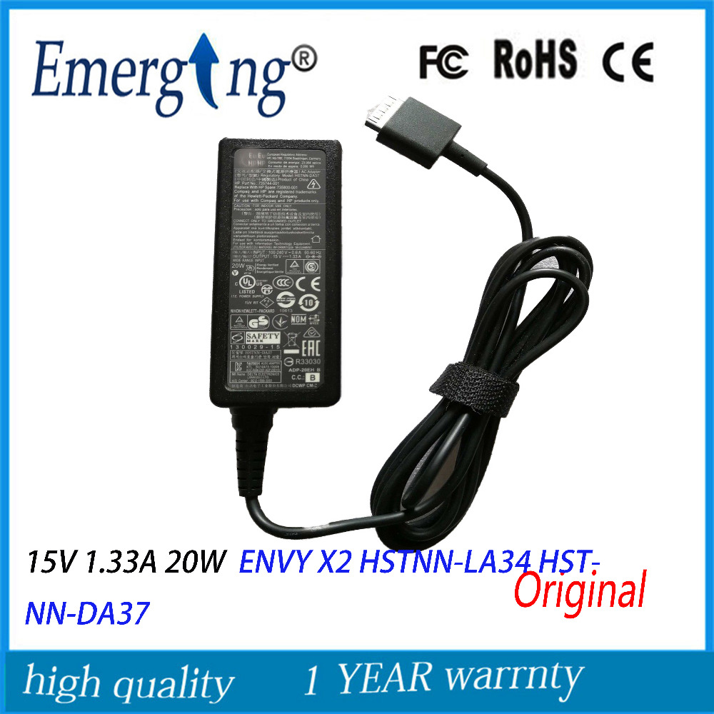 Original 15V 1.33A 20W AC Adapter Charger For HP ENVY X2 Series 735744-001 ENVY X2 11-G012NR NOTEBOOK PC 714148-003 7146560 new laptop adapter for for hp envy x2 20w 15v 1 33a