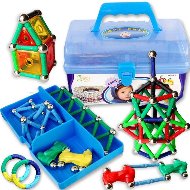 Kids Great Gift 168pcs / Set  Magnetic Blocks Educational toys storage box magnetic  JM001 dayan gem vi cube speed puzzle magic cubes educational game toys gift for children kids grownups