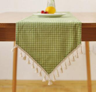 European Burlap Tassel Table Runner Cloth Bed Runner Jute Table Cover Lace  Tablecloth Home Wedding Decoration