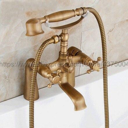 Antique Brass Telephone Bathtub Faucet Mixer Tap w/ Hand Shower Bath Shower Tub Faucet Dual Handles Ntf023