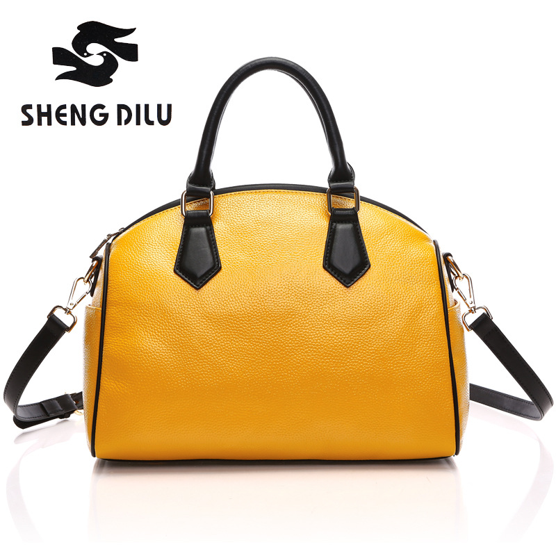 New 2017 Fashion Genuine Leather Women Handbag Patchwork Real Leather Ladies Shoulder Bag Famous Brand Women Bag Casual Tote sac new 2017 fashion leather lady patchwork natural sheepskin shoulder bag famous brand women s bag casual bag