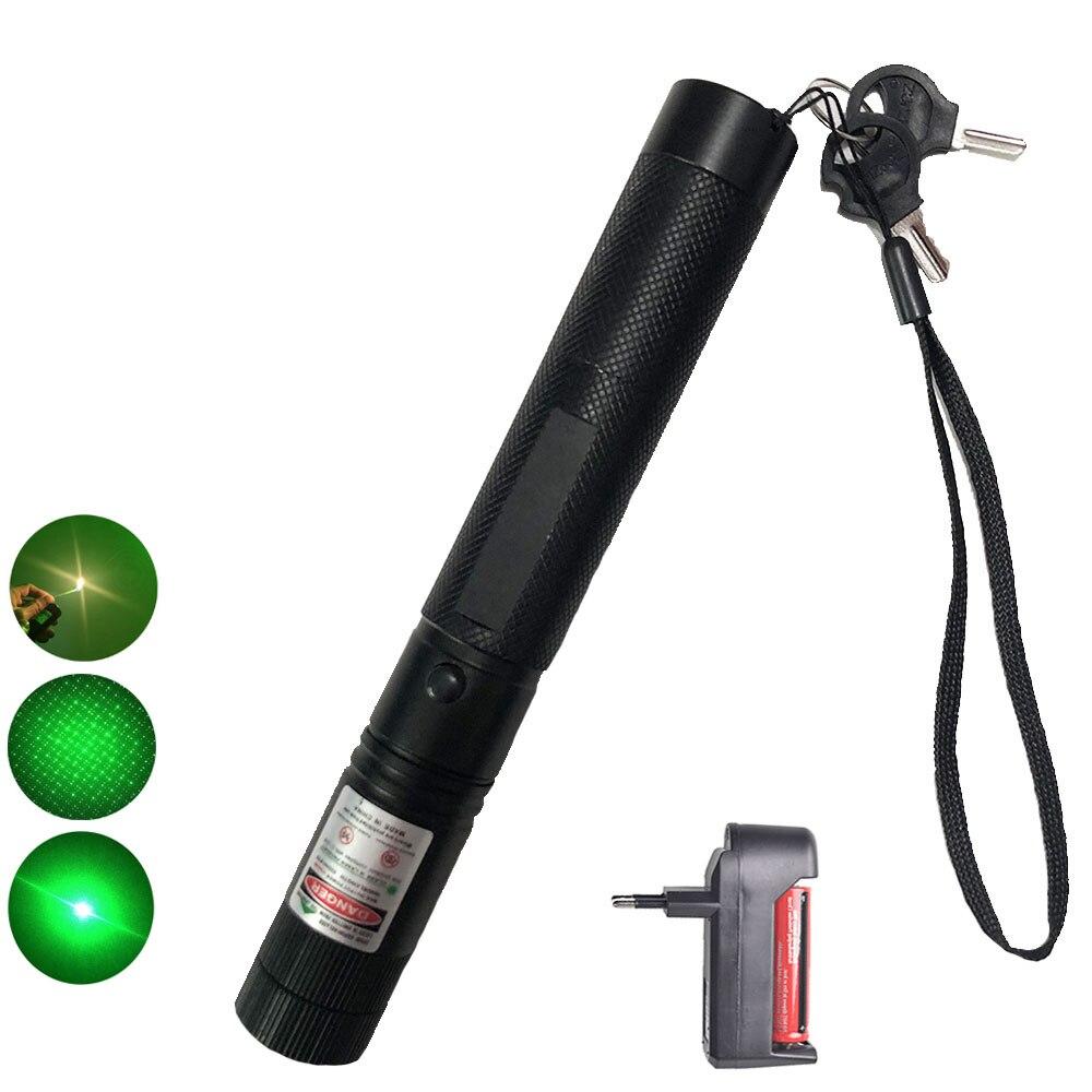 Puissant 10000 m 532nm Vert Laser Sight pointeur laser Puissant Mise Au Point Réglable Lazer avec laser + chargeur + 18650 Batterie