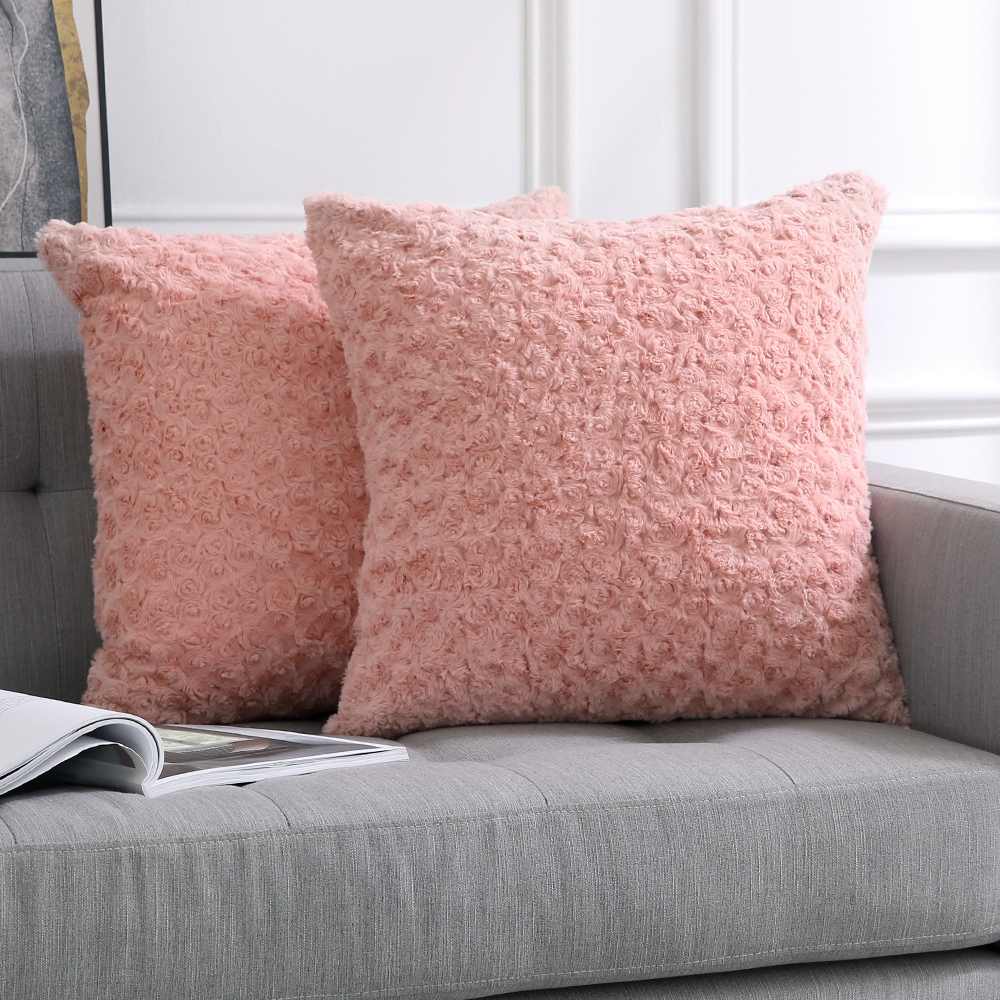Decorative Throw Pillow <font><b>Covers</b></font> Luxury Faux Fuzzy Fur Soft <font><b>Cushion</b></font> Pillow Case Decor Rose Pink Cases for Couch Sofa Bedroom Car image